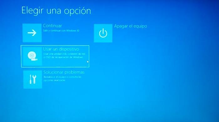 opciones de inicio avanzadas windows 10