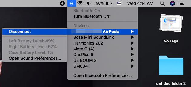 Preferencia de Bluetooth para AirPods