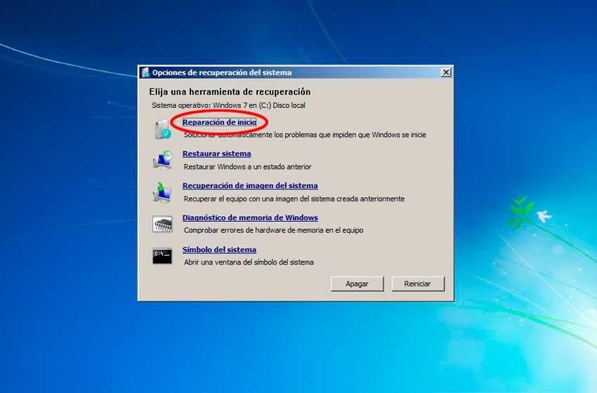 reparacion de inicio windows 7