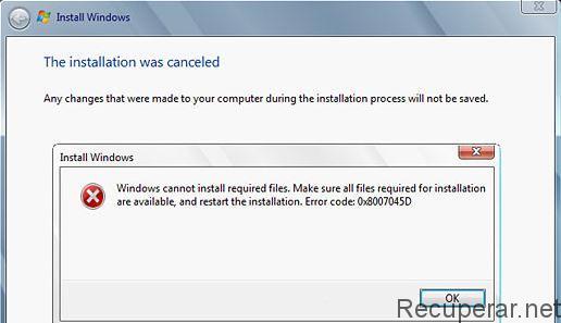 Mensaje de error 0x8007045d instalación windows