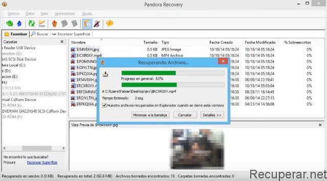Recuperando archivos con pandorarecovery