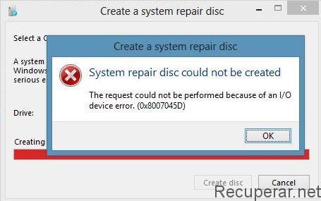 reparar disco externo error 0x8007045D