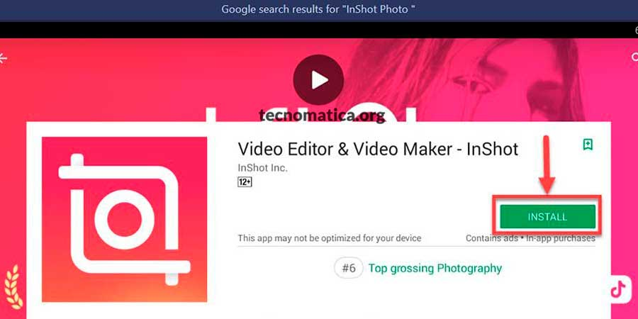 crear video con fotos inshot pc