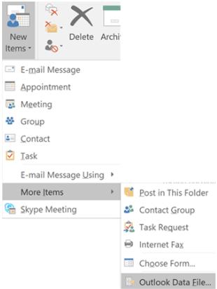 nuevo archivo de datos de Outlook